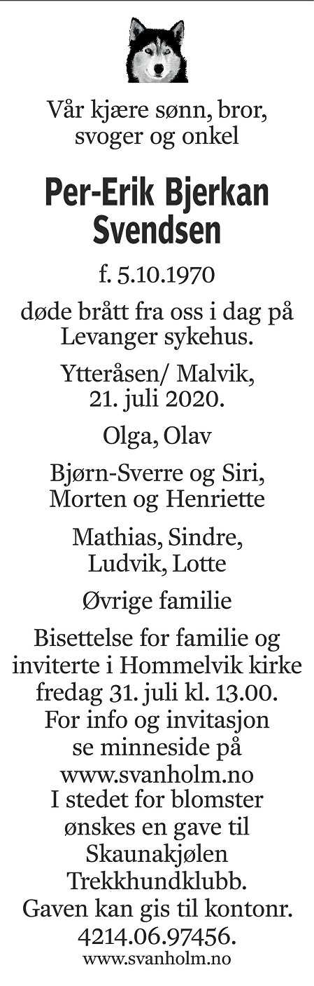 Per-Erik Bjerkan Svendsen Dødsannonse