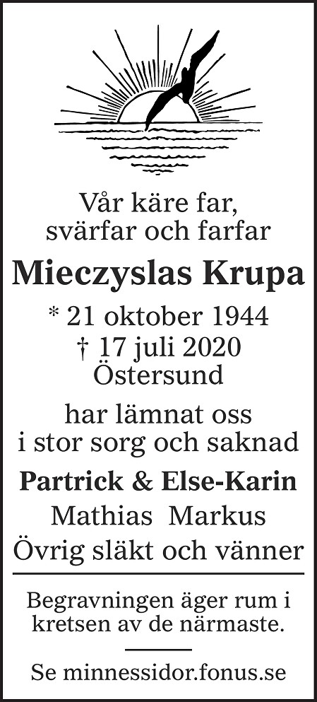Mieczyslas Krupa Death notice