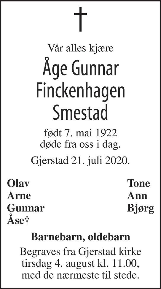 Åge Gunnar Finckenhagen Smestad Dødsannonse
