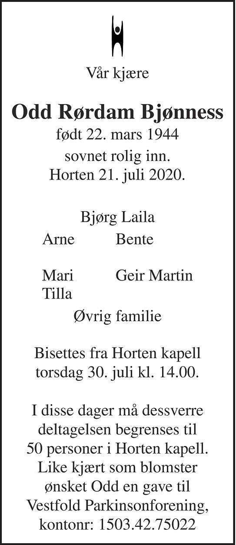 Odd Rørdam Bjønness Dødsannonse
