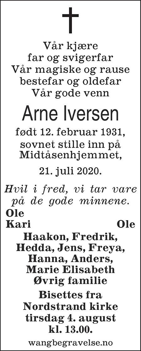 Arne Terje Iversen Dødsannonse