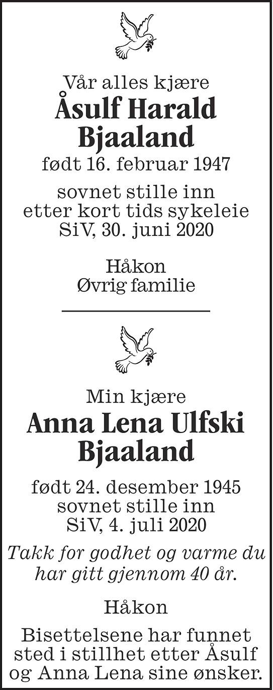 Åsulf Harald Bjaaland Dødsannonse