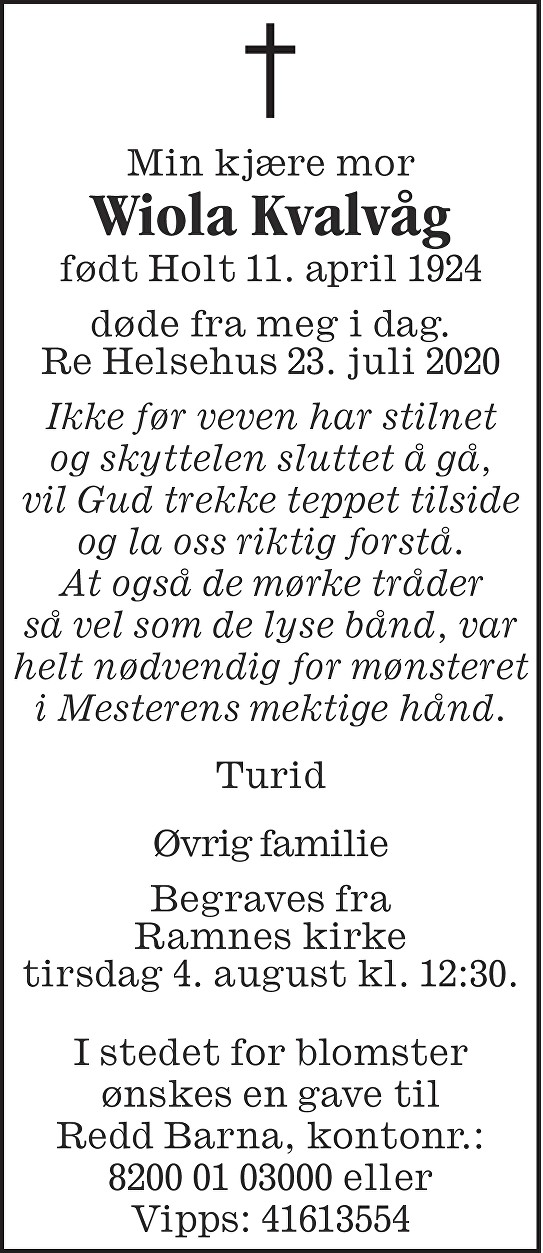 Wiola Kvalvåg Dødsannonse