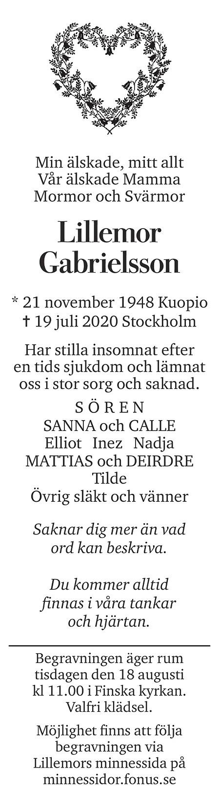 Lillemor Gabrielsson Death notice