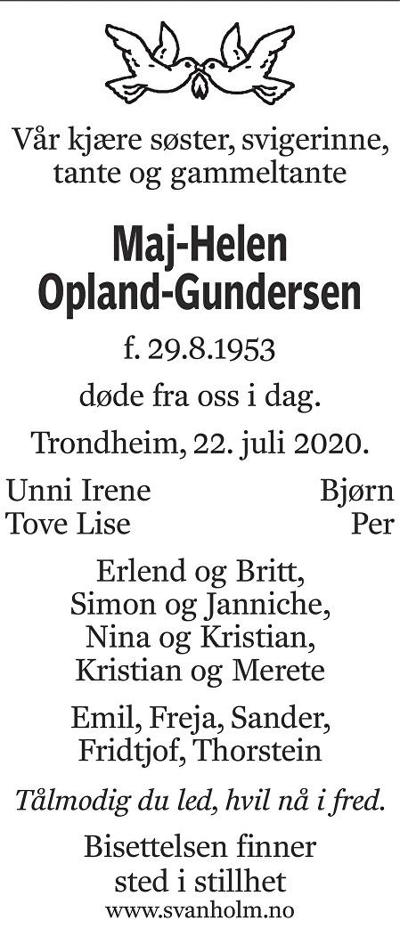 Maj-Helen Opland-Gundersen Dødsannonse