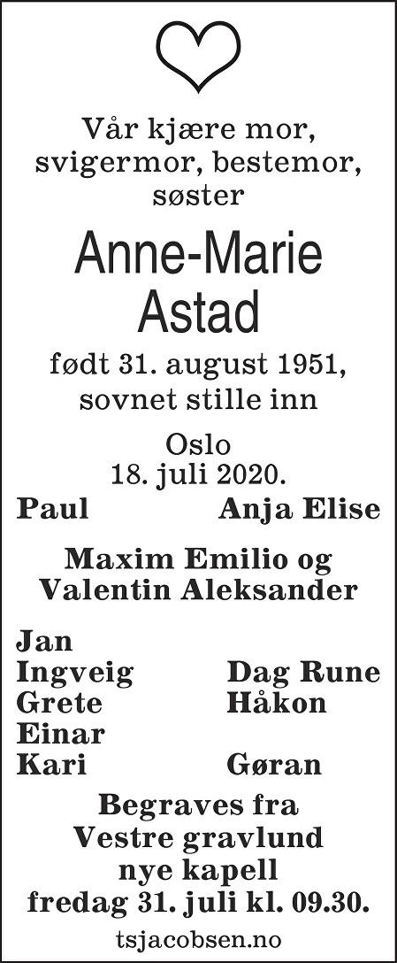 Anne Marie Astad Dødsannonse
