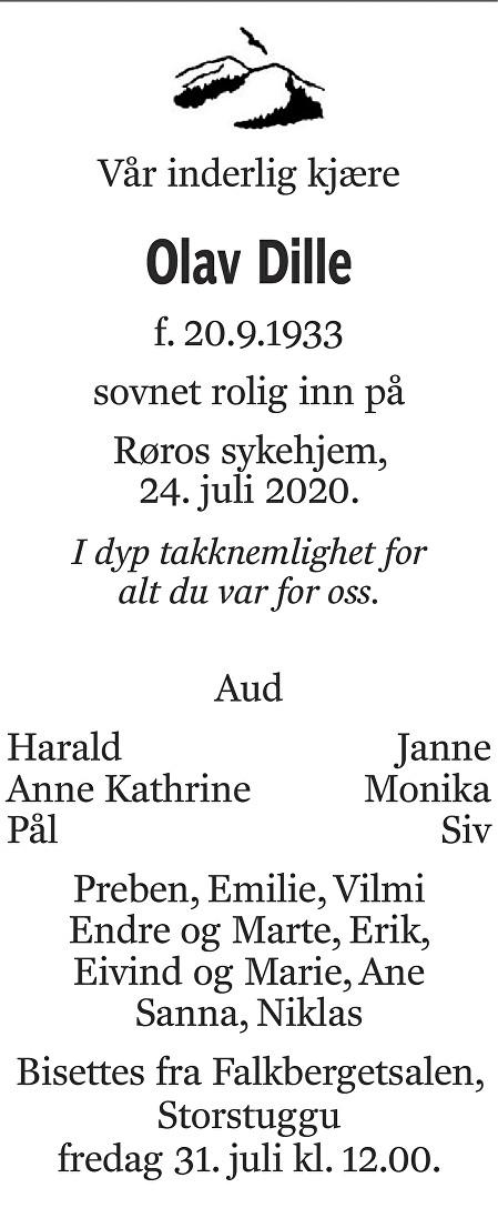 Olav Dille Dødsannonse