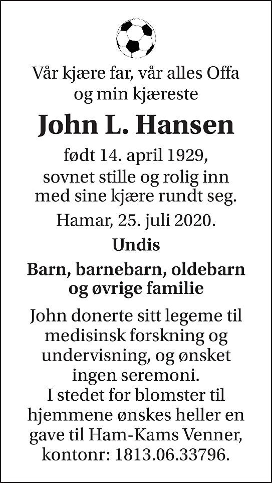 John Leif Hansen Dødsannonse