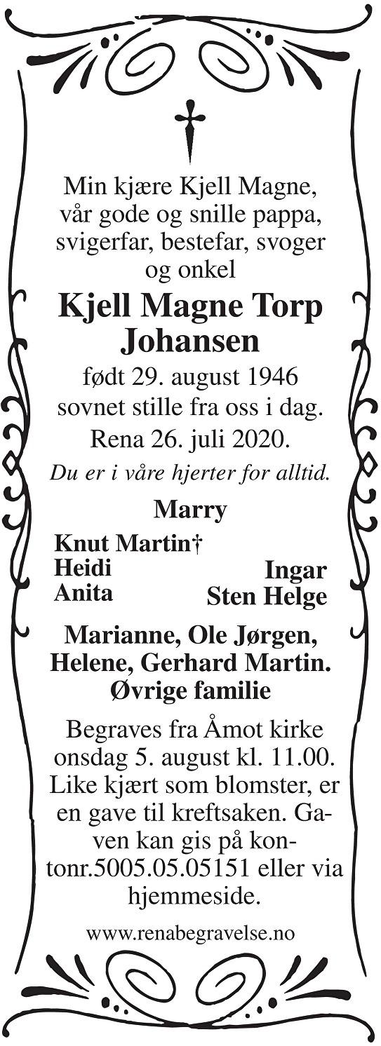 Kjell Magne Torp Johansen Dødsannonse