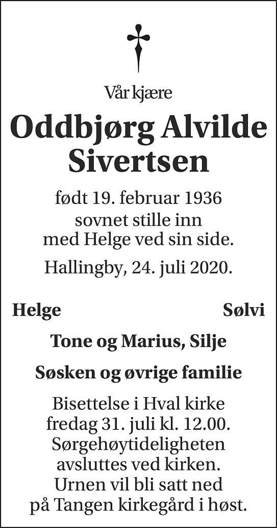 Oddbjørg Alvilde Sivertsen Dødsannonse