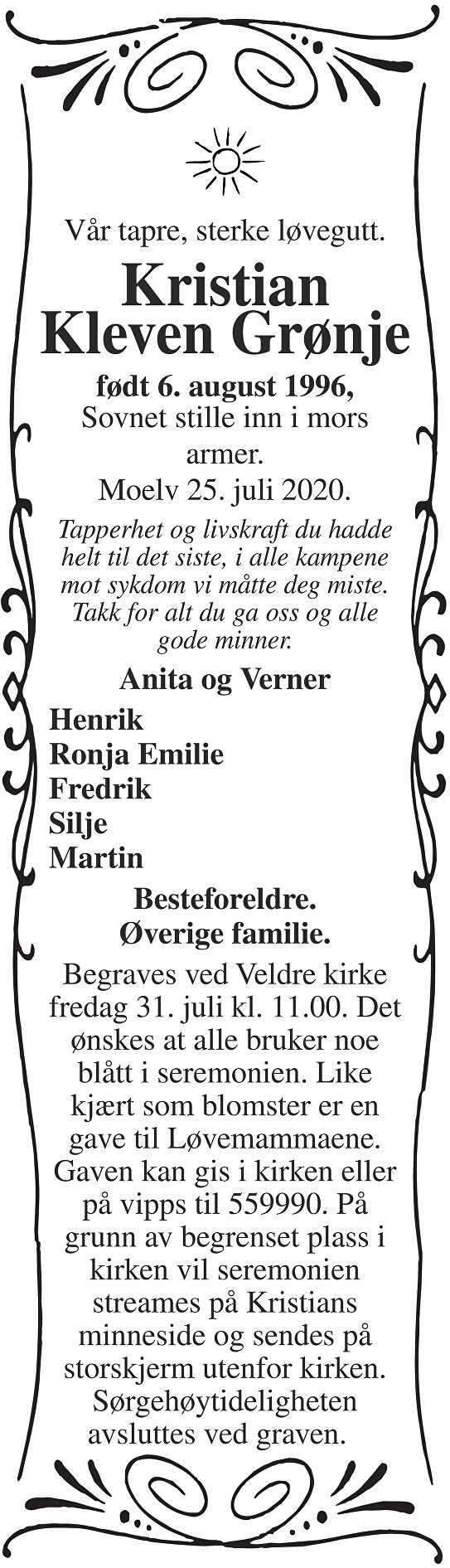 Kristian Kleven Grønje Dødsannonse