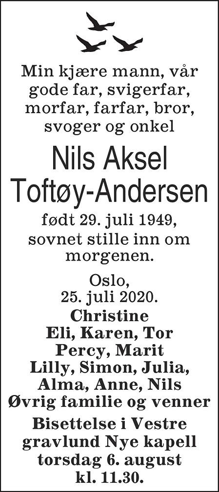 Nils Aksel Toftøy-Andersen Dødsannonse