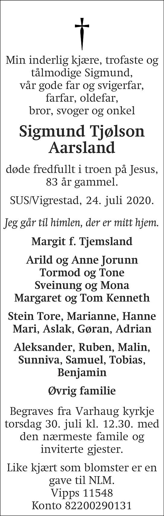 Sigmund Tjølson Aarsland Dødsannonse