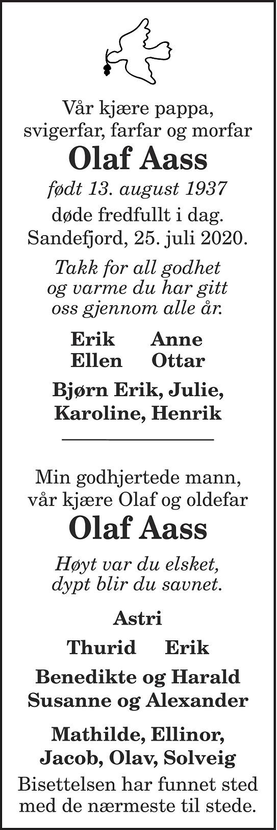 Olaf Aass Dødsannonse