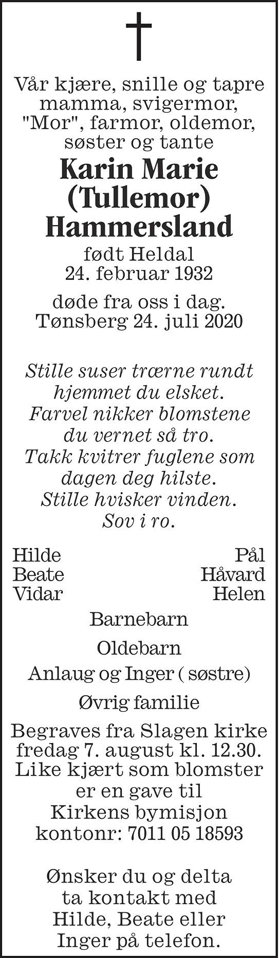 Karin Marie Hammersland Dødsannonse