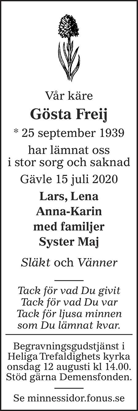 Gösta Freij Death notice