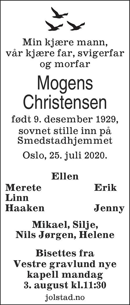 Mogens Christensen Dødsannonse