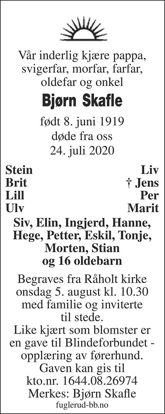 Bjørn Skafle Dødsannonse