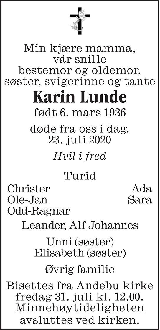 Karin Lunde Dødsannonse