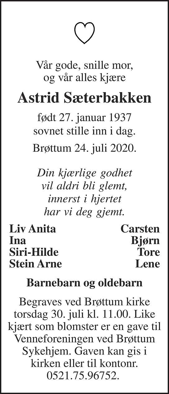 Astrid Sæterbakken Dødsannonse