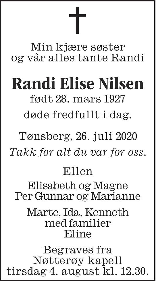 Randi Elise Nilsen Dødsannonse
