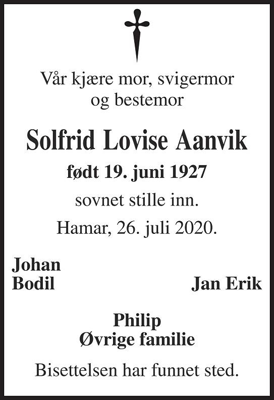 Solfrid Lovise Aanvik Dødsannonse