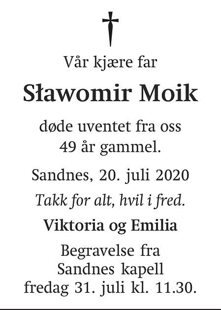 Sławomir Moik Dødsannonse