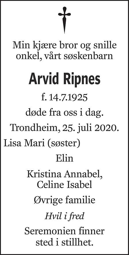 Arvid Ripnes Dødsannonse
