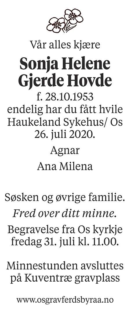 Sonja Helene Gjerde Hovde Dødsannonse