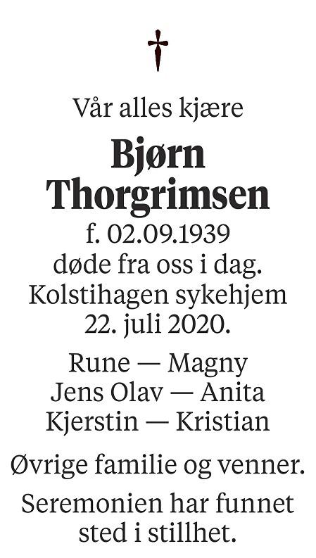 Bjørn Thorgrimsen Dødsannonse
