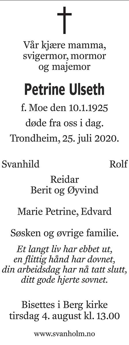 Petrine Ulseth Dødsannonse