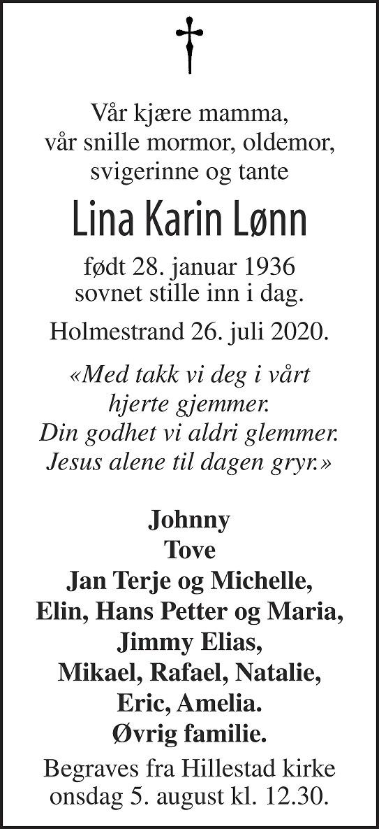 Lina Karin Lønn Dødsannonse