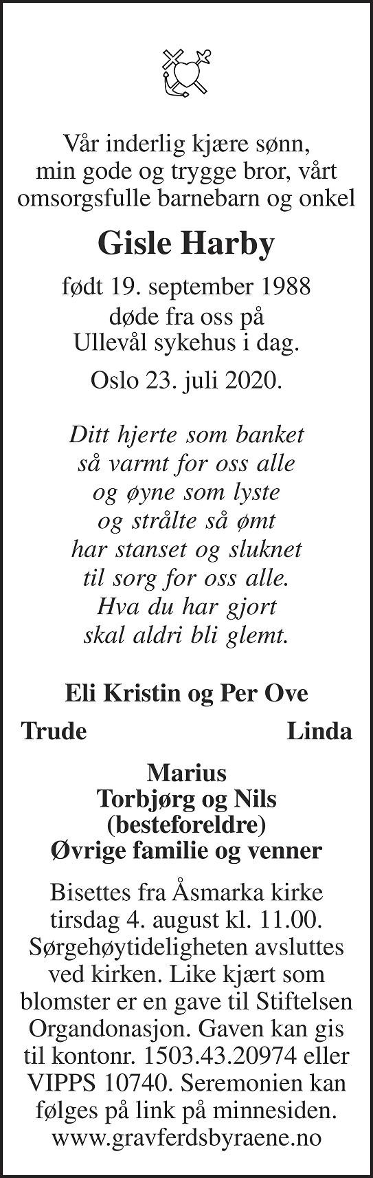 Gisle Harby Dødsannonse