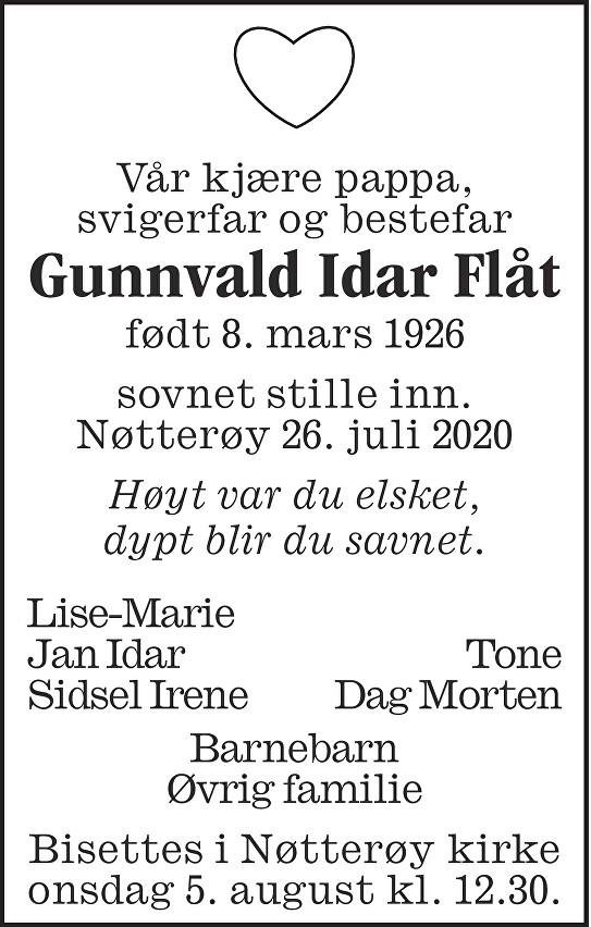 Gunnvald Idar Flåt Dødsannonse