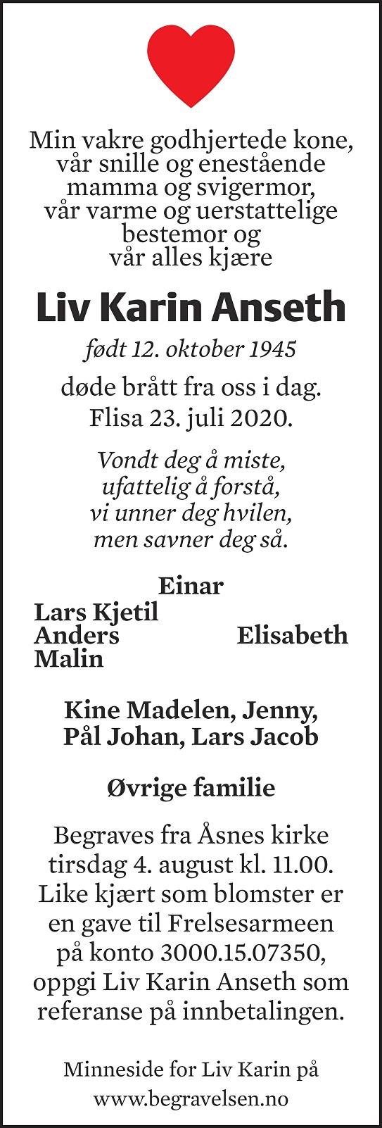 Liv Karin Anseth Dødsannonse