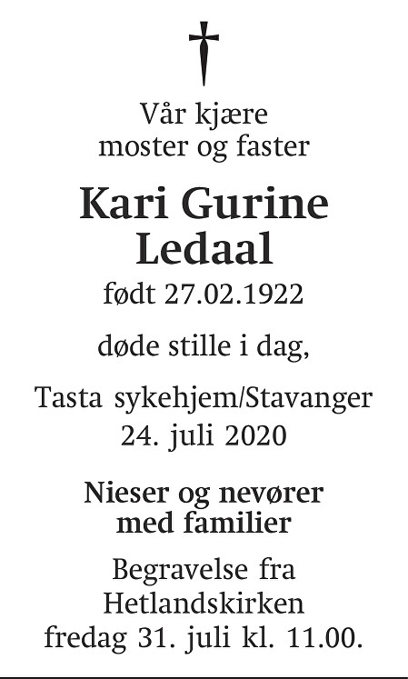 Kari Gurine Ledaal Dødsannonse
