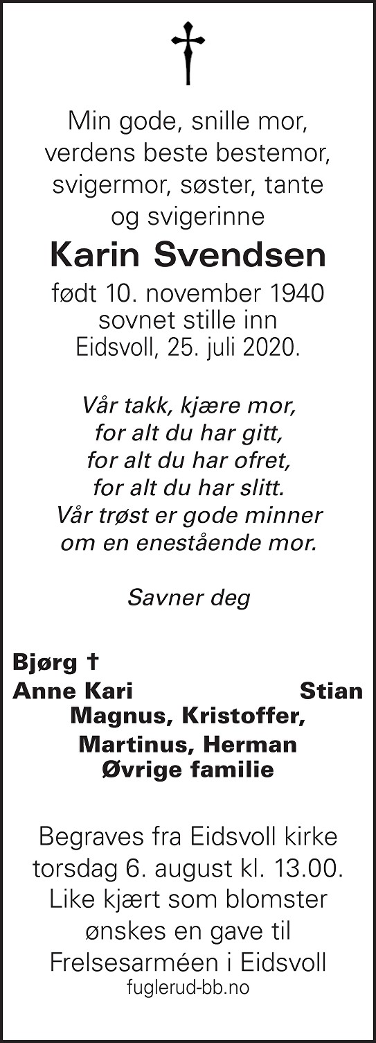 Karin Svendsen Dødsannonse