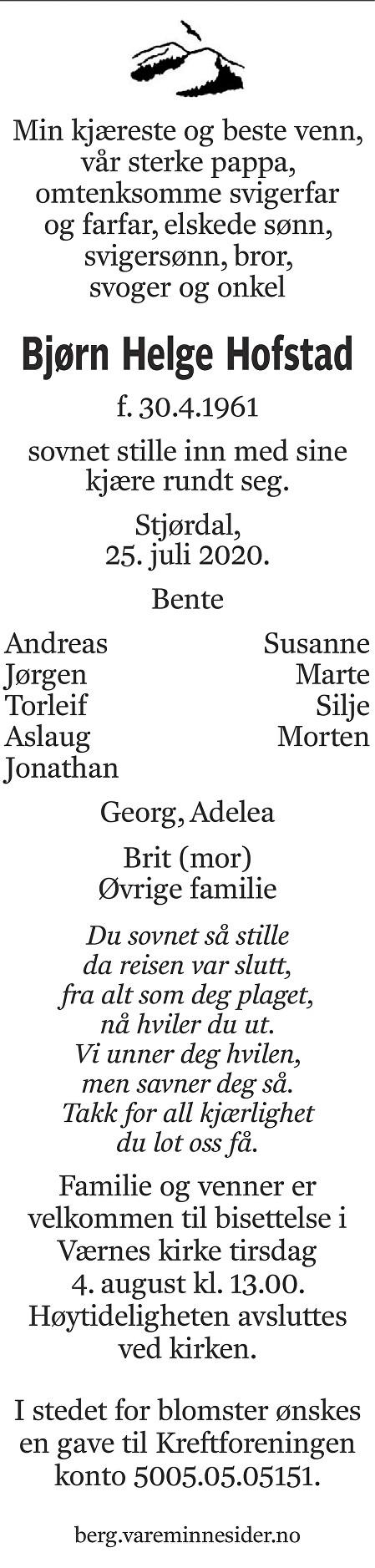 Bjørn Helge Hofstad Dødsannonse