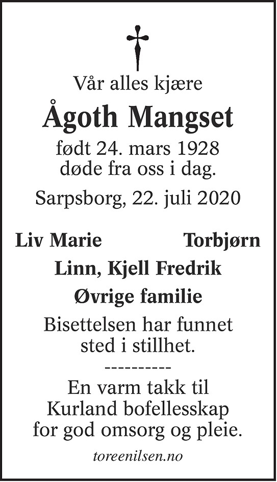 Ågoth Karin Mangset Dødsannonse