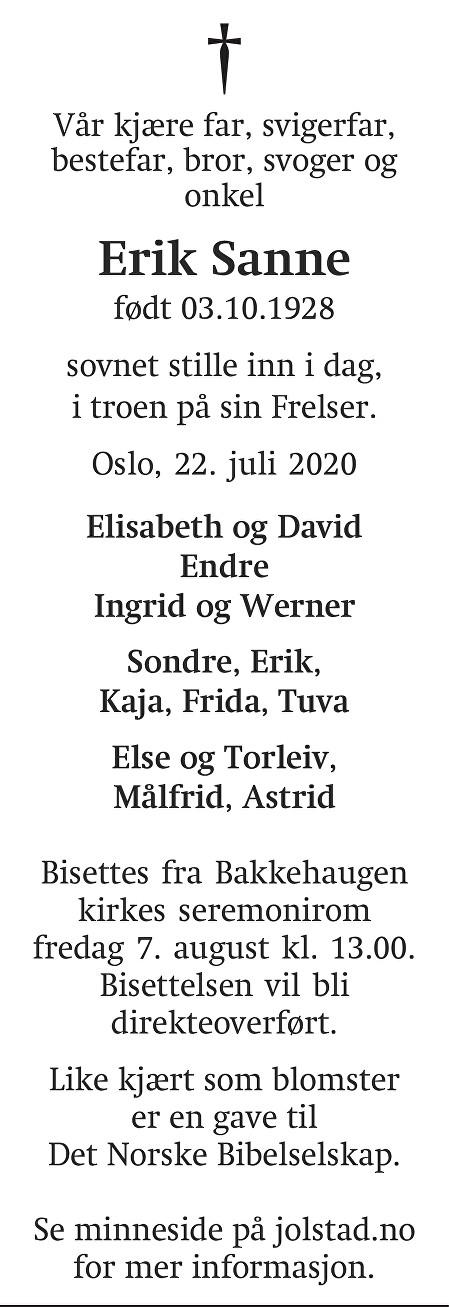 Erik Sanne Dødsannonse