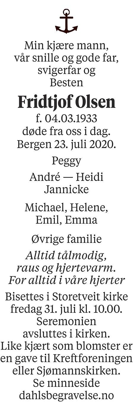 Fridtjof Olsen Dødsannonse