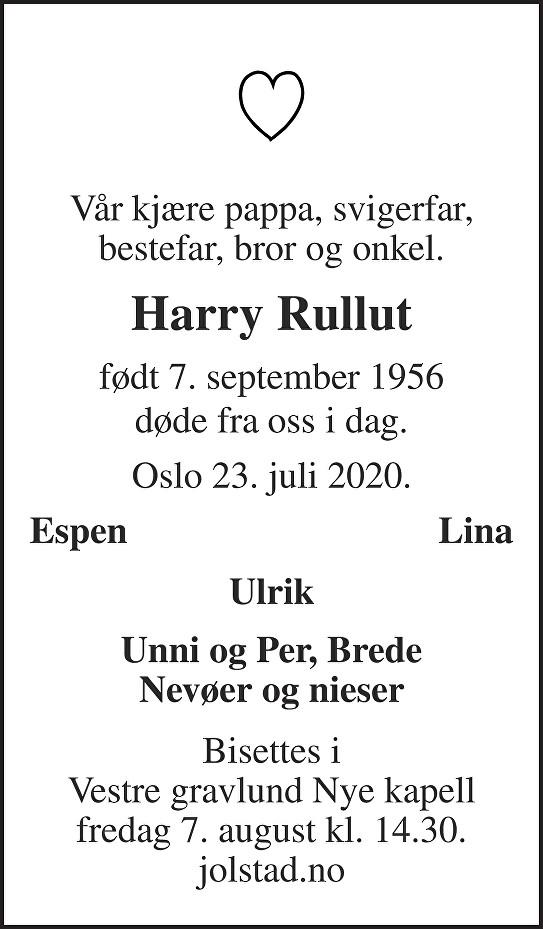 Harry Rullut Dødsannonse