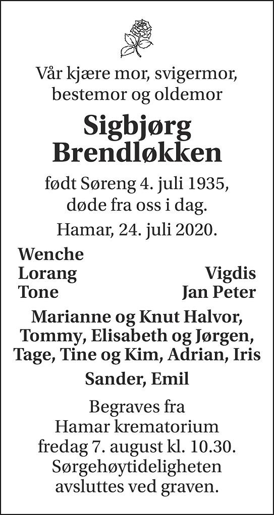 Sigbjørg Brendløkken Dødsannonse