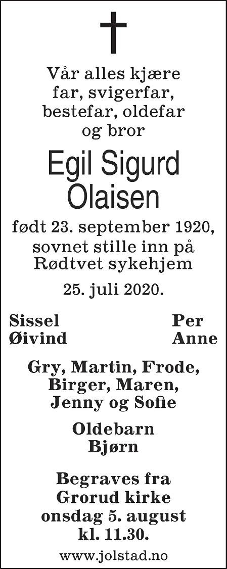 Egil Sigurd Olaisen Dødsannonse