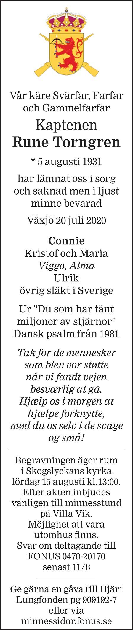 Rune Torngren Death notice