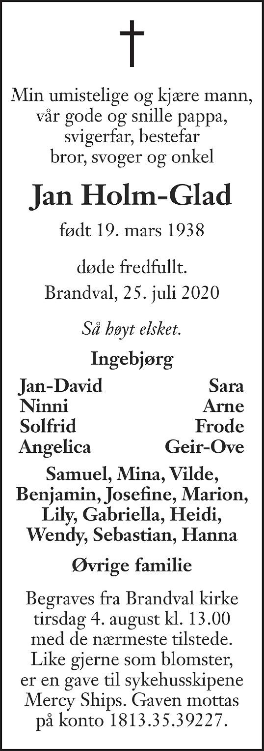 Jan Kristian Holm-Glad Dødsannonse