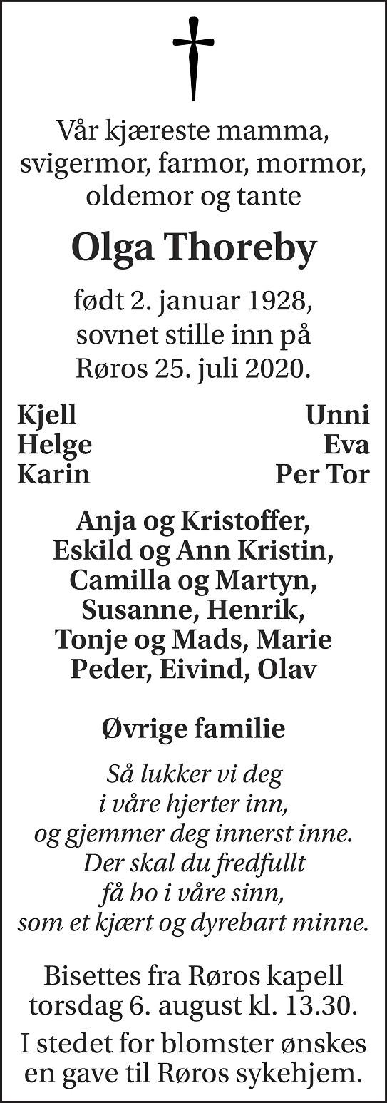 Olga Thoreby Dødsannonse