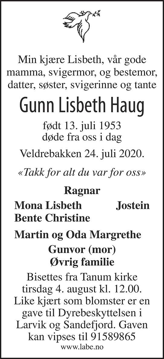 Gunn Lisbeth Haug Dødsannonse