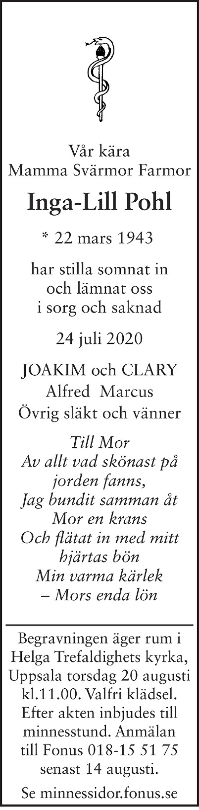 Inga-Lill Pohl Death notice