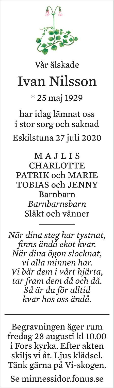Ivan Nilsson Death notice